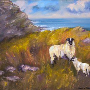 Wild Atlantic Sheep Painting