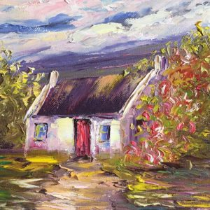 Oil painting of cottage in the Burren for sale online