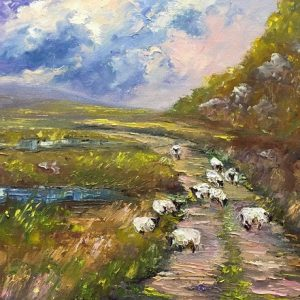 Meandering Sheep Painting