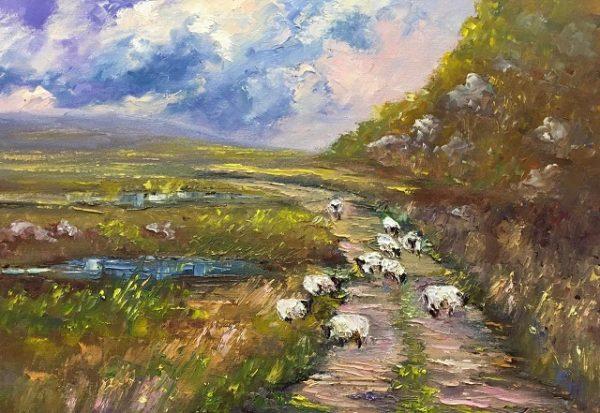 Meandering Sheep Painting