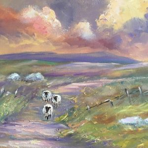 Sheep Wandering Home Painting