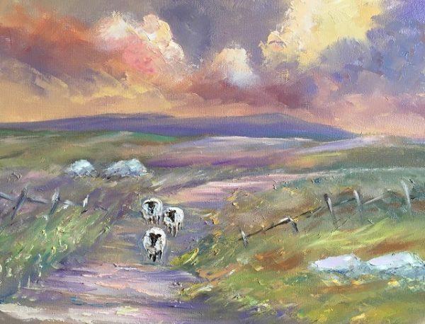 Sheep Wandering Home Painting