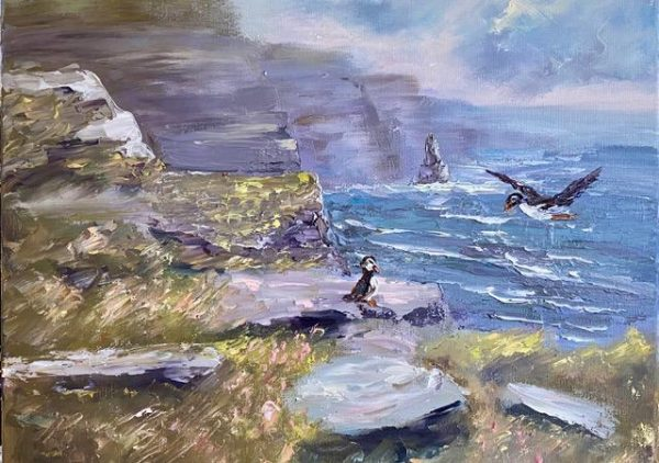 Puffins at the Cliff Painting