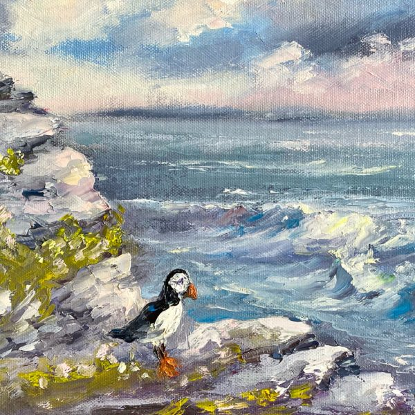 Oil Painting of a Puffin at the Cliffs of Moher
