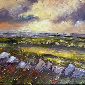Evening light on the Burren Painting