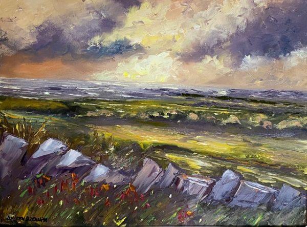 Evening light on the Burren Painting